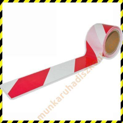 piros fehér kordonszalag, jelzőszalag 100M