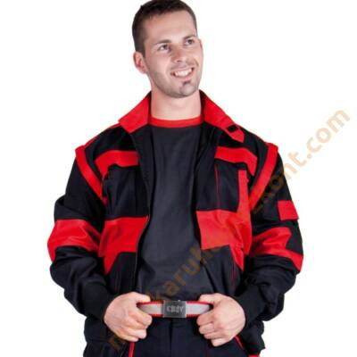 Max munkaruha kabát fekete piros