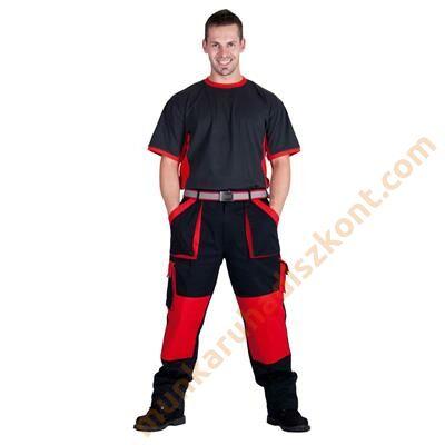 Max munkaruha nadrág fekete piros