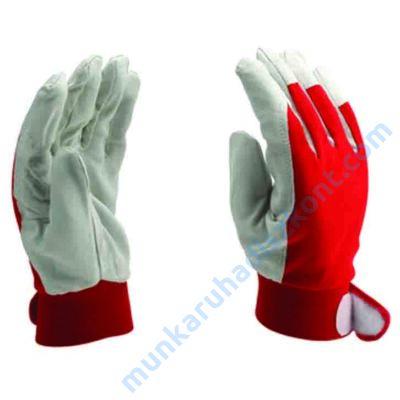 4515 Szürke sertés színbőr szerelő kesztyű, vörös kézháttal