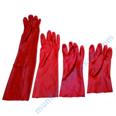 6035-30 PVC kesztyű 30 cm, piros pvc mártott kesztyű