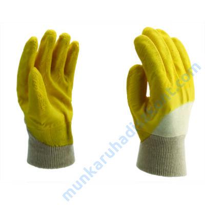 7011 sárga letexba mártott pamut kesztyű