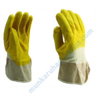 7021 sárga letexba mártott pamut kesztyű
