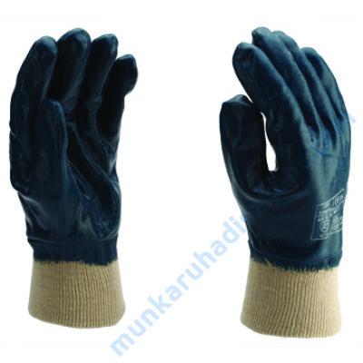 1001 Végig mártott kék nitril kesztyű kötött mandzsettával