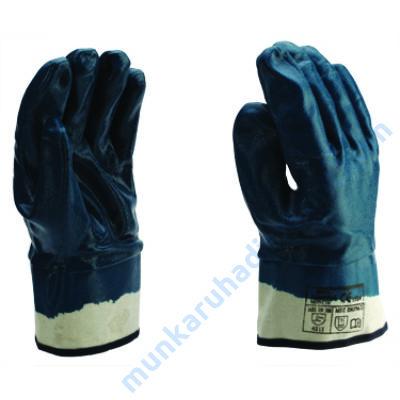 9041 Kék nitril teljesen mártott kesztyű,vászon mandzsetta