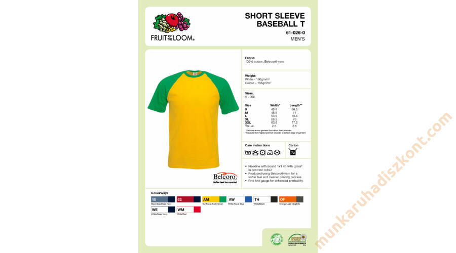 5ba129e48f Fruit of the Loom Short Sleeve Baseball T póló - Fruit of the Loom ...