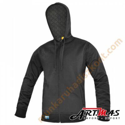Comfort+PIK kapucnis zipzáras fekete pulóver