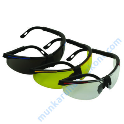 Látogató védőszemüveg,sárga PC lencse, kihúzható szár 91708