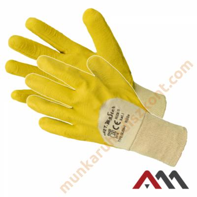 RGSE sárga latexba mártott pamut kesztyű