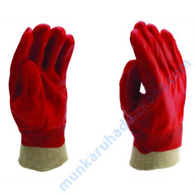3202 PVC mártott kesztyű, kötött mandzsettás,piros
