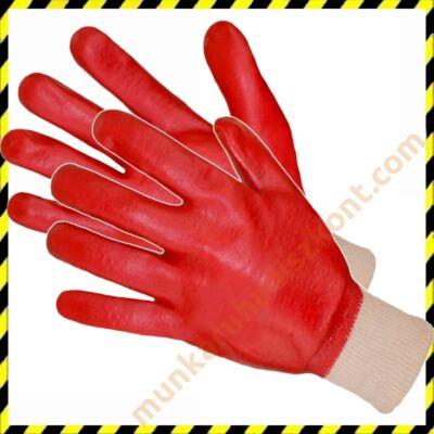 PVC piros mártott kesztyű