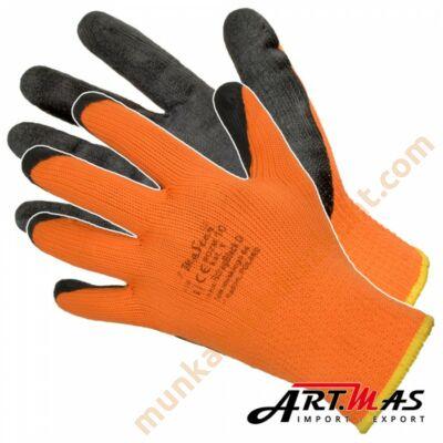 Téli latex mártott poliészter szerelőkesztyű fluo narancs színben
